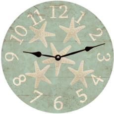 Starfish Clock Seafoam Rustic