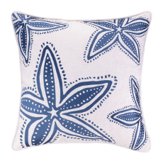 Starfish Navy Embroidered Pillow