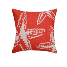 Starfishes Coral Red Linen Pillow