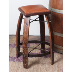 Barrel Stave Bar Stool W/ Tan Leather Seat
