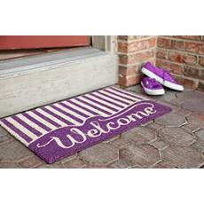 Striped Welcome Non Slip Coir Doormat