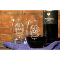 Sugar Skull Stemless  Wine Glass 17oz