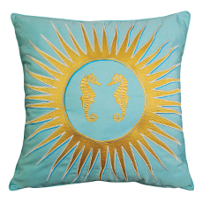 Sun and Seahorse- Glacier Blue Indoor Outdoor Pillow