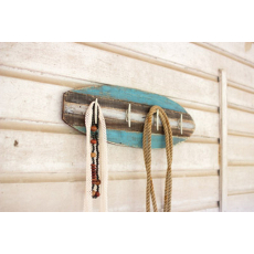 Wooden Surfboard Coat Rack with Cleat Hangers