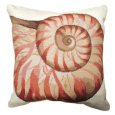 Swirl Shell Needlepoint Pillow