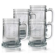 Clipper Ship Etched Tankard Beer Mug Set