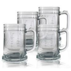 Clipper Ship Etched Tankard Beer Mug Set