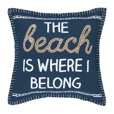 The Beach Is Where I Belong Embroidered Pillow
