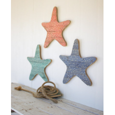 Set of 3 Wooden Starfish Wall Hangings