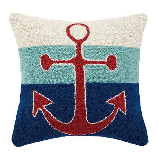 Triple Stripe Anchor Hook Pillow