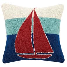 Triple Stripe Sailboat Hook Pillow