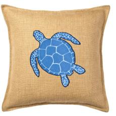 Blue Turtle Applique On Washed Burlap Pillow