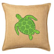 Green Turtle Applique On Washed Burlap Pillow