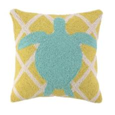 Sea Turtle on Criss Cross Pattern Pillow