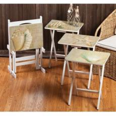 A la Plage TV Tray Set of 4 w/ Stand