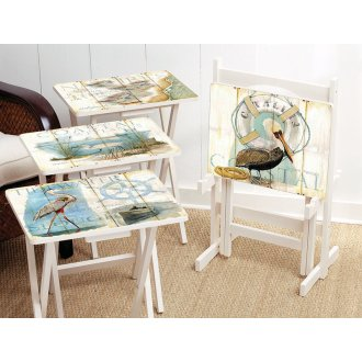 Shore Birds TV Trays with Stand