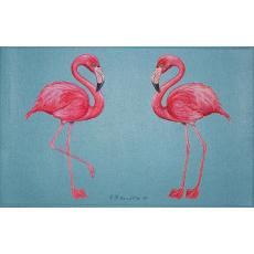 Two Flamingos Tropical Door Mat
