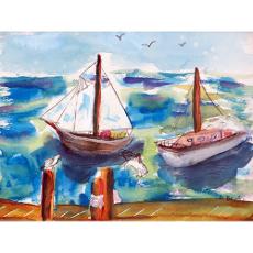 Betsy Drake Two Sailboats Door Mat