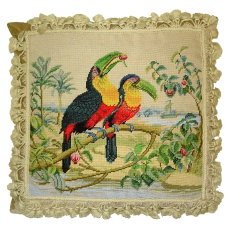 Two Toucans Needlepoint Pillow