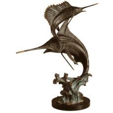 Two Bills Marlin & Sailfish Brass Sculpture