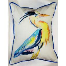 Vertical Blue Heron Indoor Outdoor Pillow