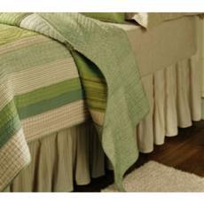 Vineyard Dream Beige Stripes Dust Ruffle Bed Skirt