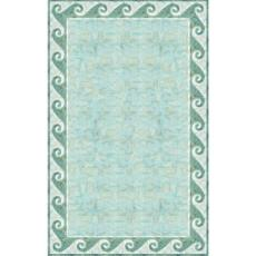 Mosaic Wave Border Aqua Indoor Outdoor Rug