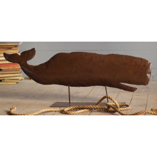 Large Rustic Iron Whale Sculpture