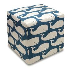 Whale Linen Cube Ottoman