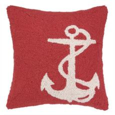 Large White Anchor On Red Hook Pillow