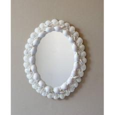White Oval Seashell Mirror