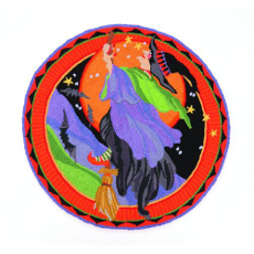 Halloween Witch Flying To The Moon 3' Round Rug