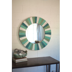 Round Wooden Sea Side Mirror