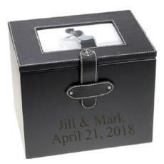 Personalized Black Leather Wedding Photo Album Box