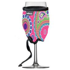 Paisley Neoprene Wine Glass Koozie in Pink