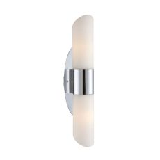 Ango 2 Light Sconce In Chrome With Chamfer-Cut White Opal Glass