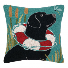 Black Lab With Lifesaver Hook Pillow