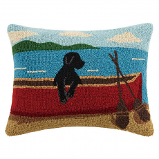 Black Lab On Canoe Hook Pillow