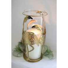 Glass Hurricane Candle Holder with Flamingos