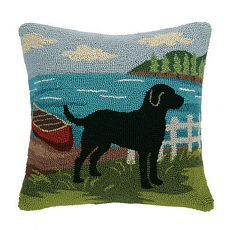 Black Lab At Lake Hook Pillow