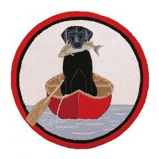 Canoe And Dog Round Hook Rug