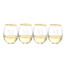 Personalized Gold Rim Stemless Wine Glass (Set of 4)