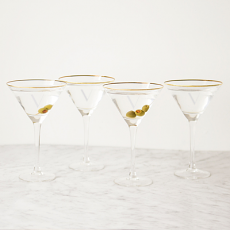 Personalized 10 oz. Gold Rim Martini Glass Set (Set of 4)