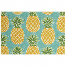 Blue Pineapple Hook Rug
