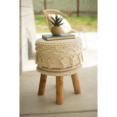 Macramé Stool with Wooden Legs