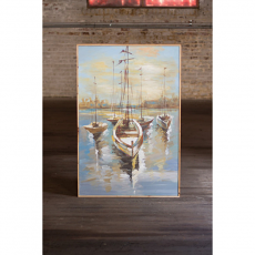 Sailboats In The Harbor Oil Painting With Wooden Frame