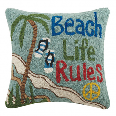 Beach House Rules Hook Pillow