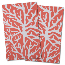 Sea Coral Coral Hand Towel (Set Of 2)
