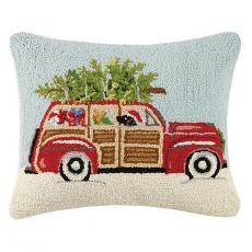 Station Wagon Beach Christmas Hook Pillow