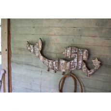 Wooden Mermaid Whitewashed Coat Rack